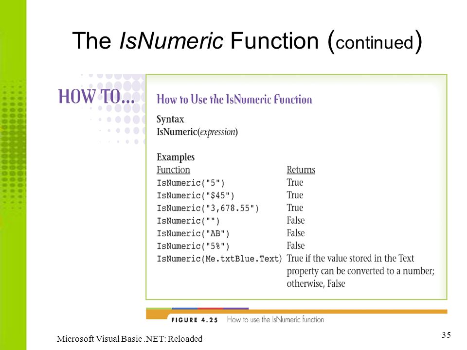 The IsNumeric Function (continued)