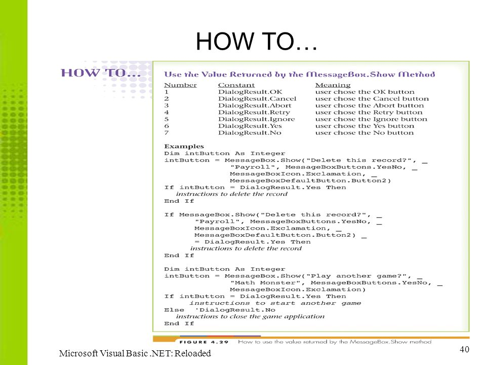 HOW TO… Microsoft Visual Basic .NET: Reloaded