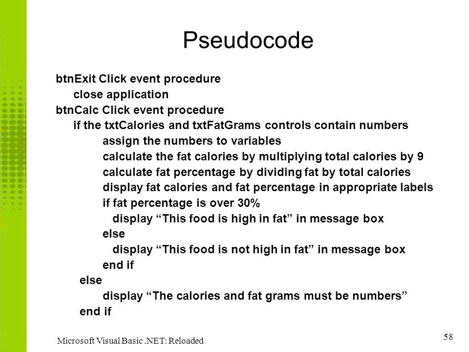 Pseudocode btnExit Click event procedure close application