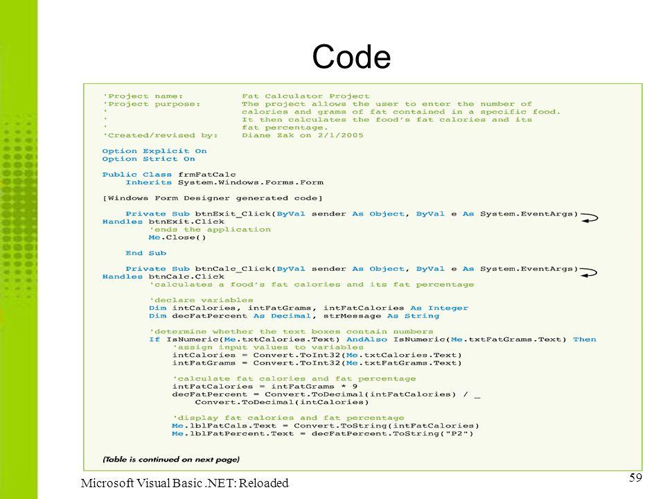 Code Microsoft Visual Basic .NET: Reloaded