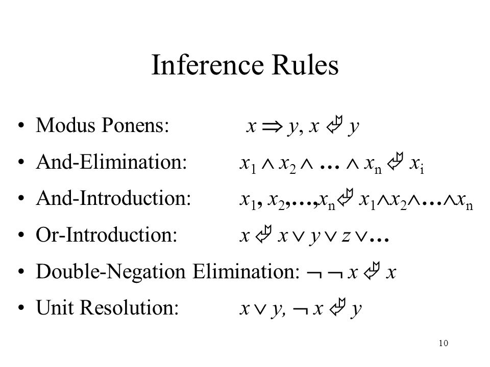 Inference Rules Modus Ponens: x  y, x  y