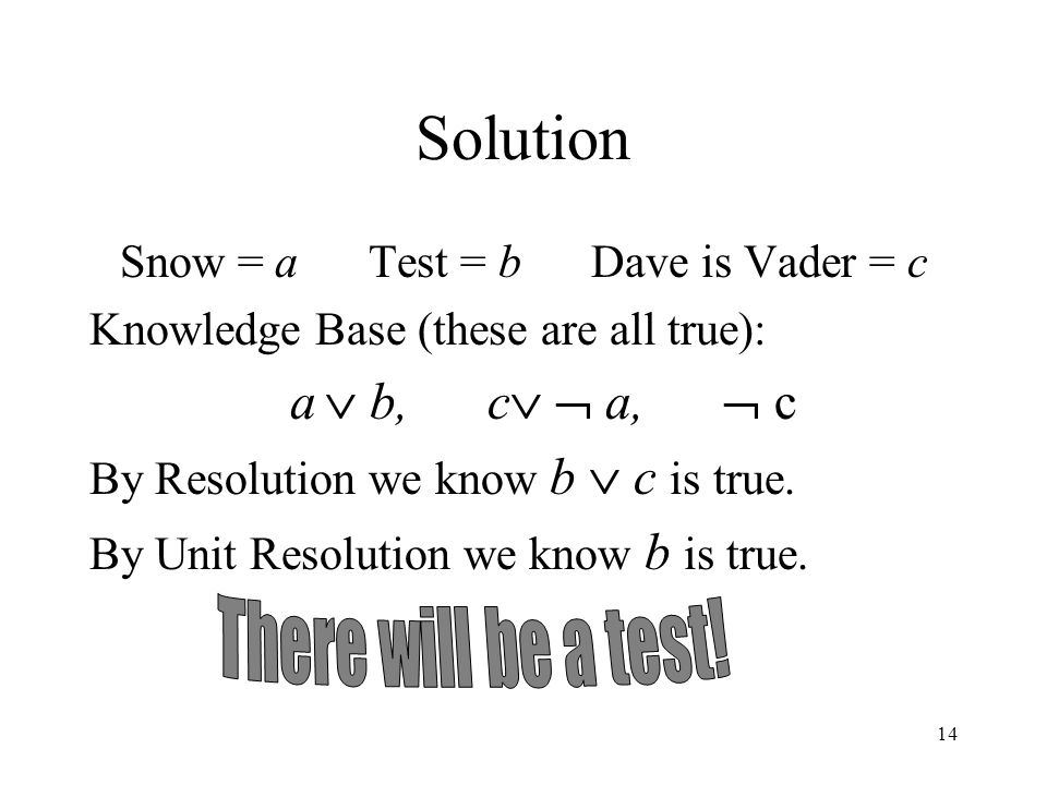 Snow = a Test = b Dave is Vader = c