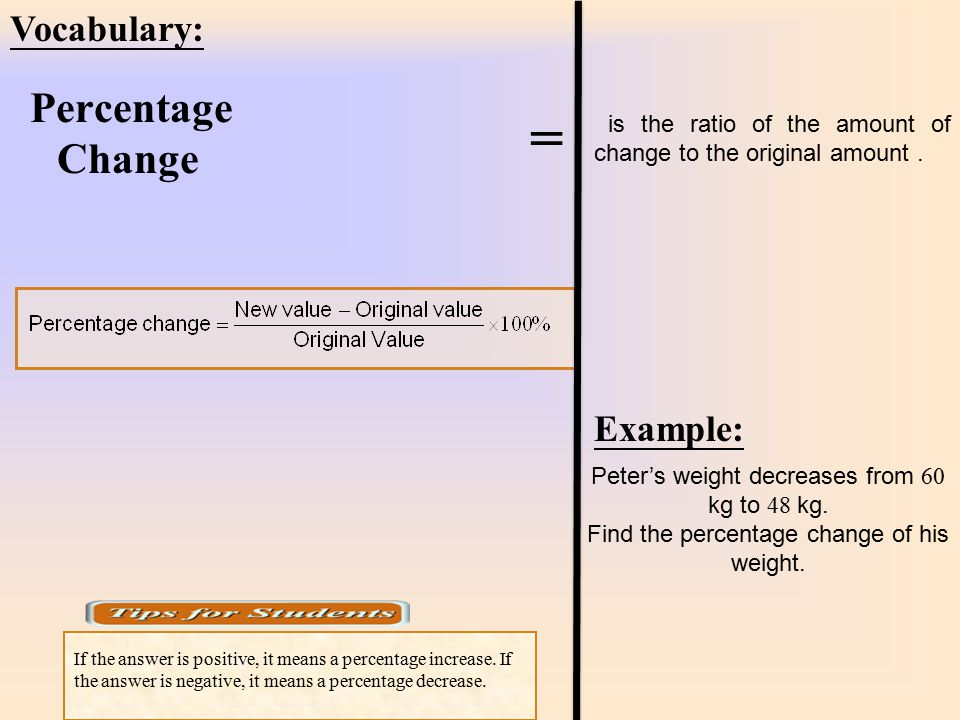= Vocabulary: Example: Percentage Change