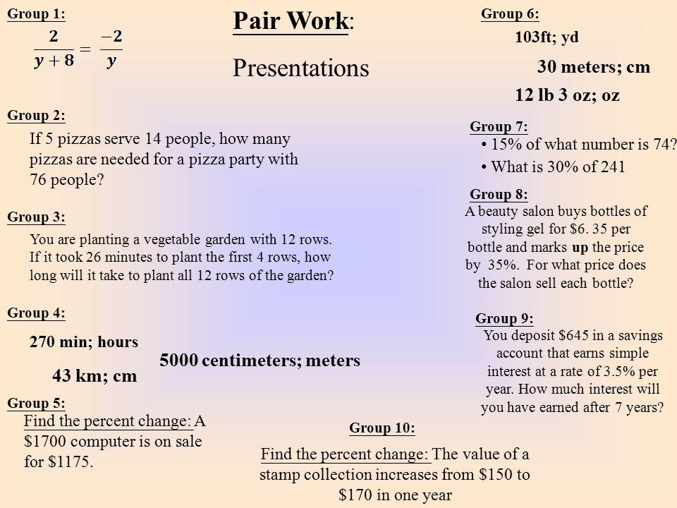 Pair Work: Presentations 30 meters; cm 12 lb 3 oz; oz
