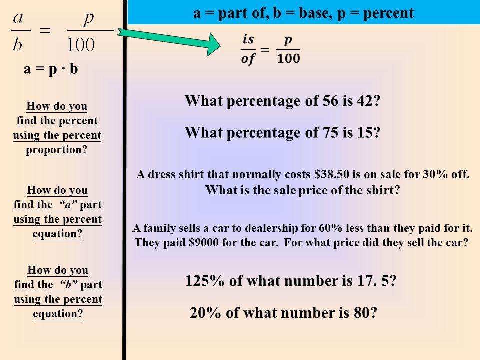 a = part of, b = base, p = percent