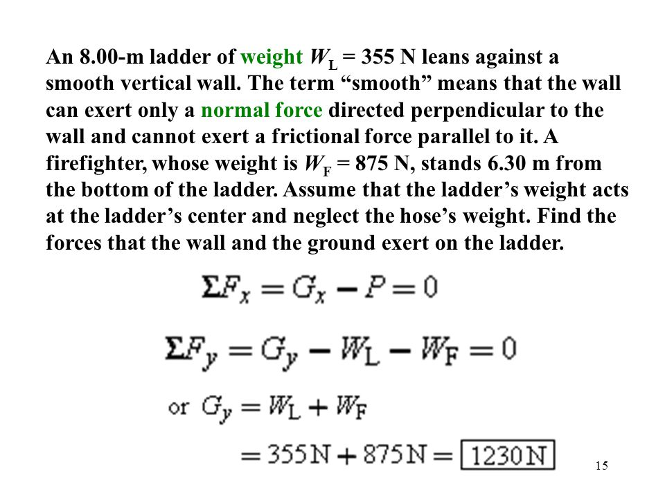 An 8.00-m ladder of weight WL = 355 N leans against a smooth vertical wall.