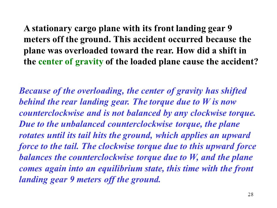 A stationary cargo plane with its front landing gear 9 meters off the ground. This accident occurred because the plane was overloaded toward the rear. How did a shift in the center of gravity of the loaded plane cause the accident