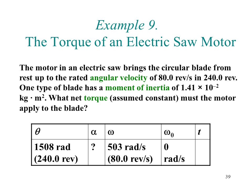 Example 9. The Torque of an Electric Saw Motor