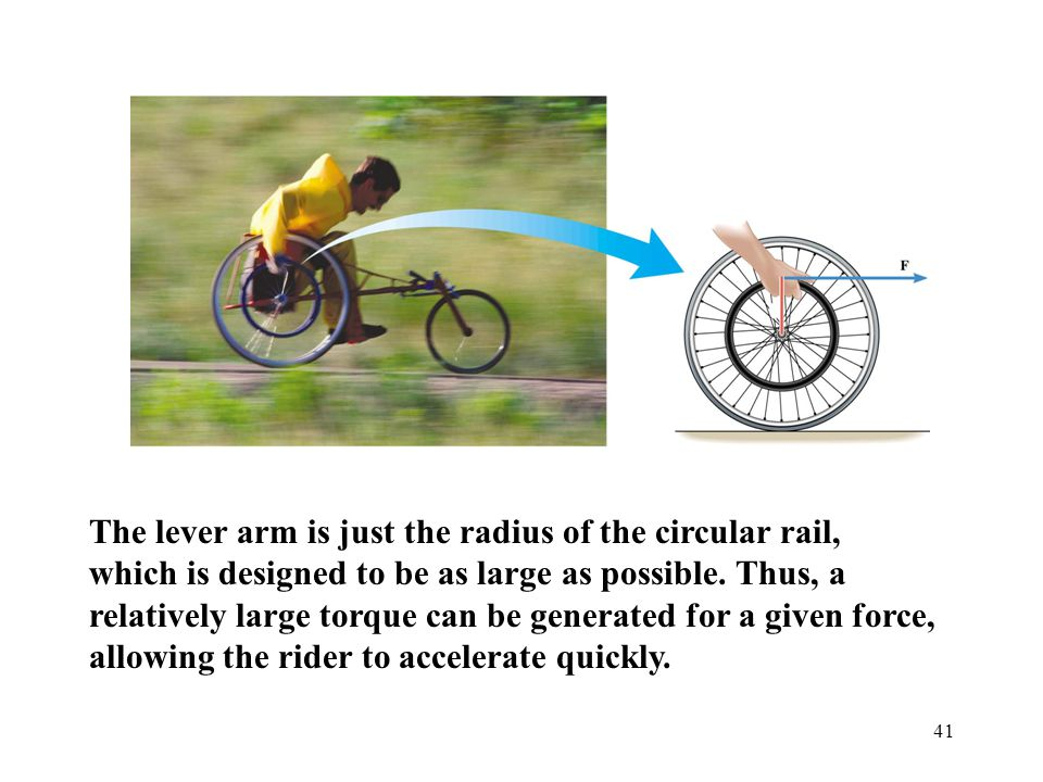 The lever arm is just the radius of the circular rail, which is designed to be as large as possible.