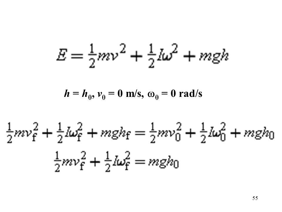 h = h0, v0 = 0 m/s, w0 = 0 rad/s