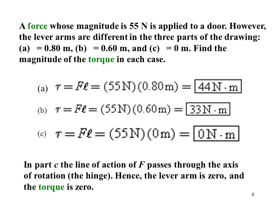 A force whose magnitude is 55 N is applied to a door