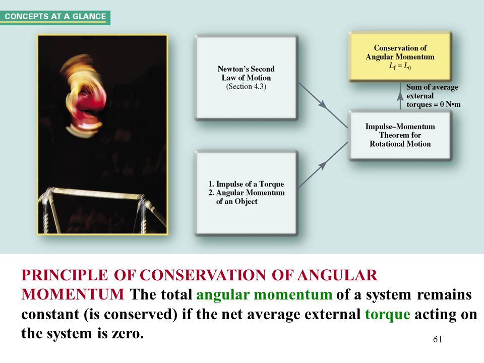 PRINCIPLE OF CONSERVATION OF ANGULAR MOMENTUM The total angular momentum of a system remains constant (is conserved) if the net average external torque acting on the system is zero.