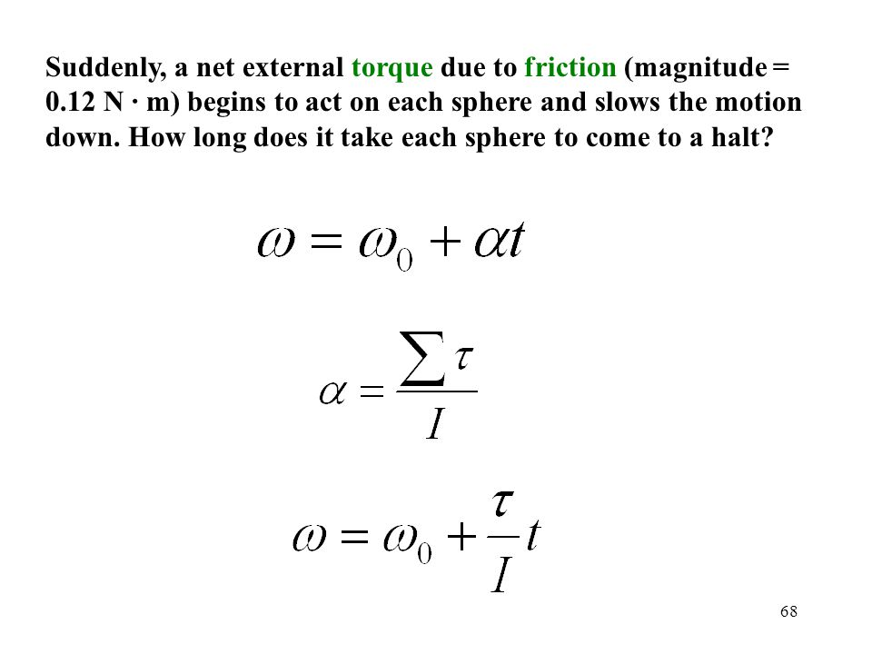 Suddenly, a net external torque due to friction (magnitude = 0