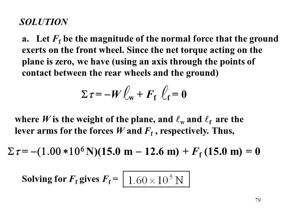 St = -(1.00 *106 N)(15.0 m - 12.6 m) + Ff (15.0 m) = 0