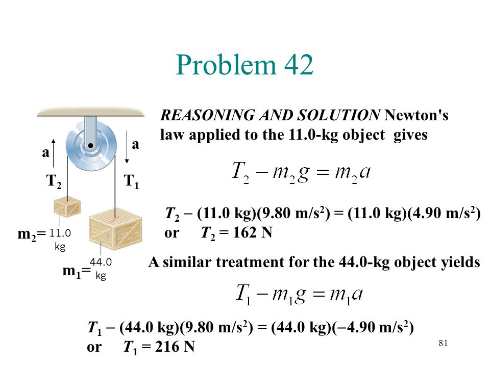 Problem 42 REASONING AND SOLUTION Newton s law applied to the 11.0-kg object gives. a. a. T2. T1.