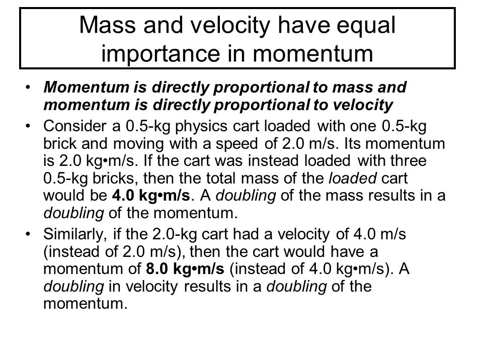 Mass and velocity have equal importance in momentum