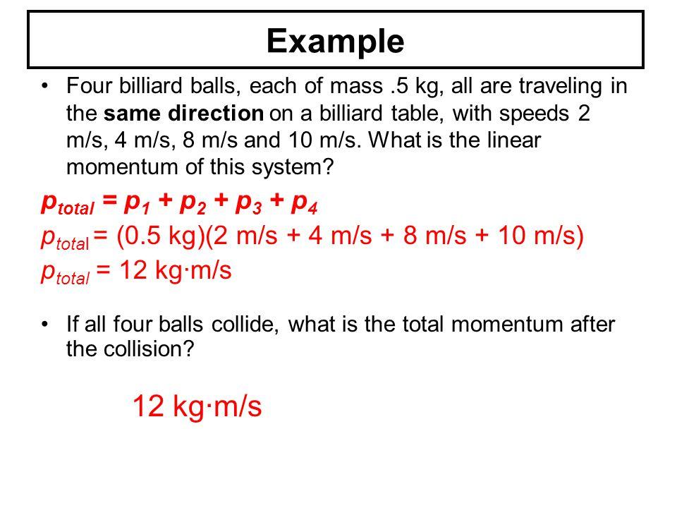 Example 12 kg∙m/s ptotal = p1 + p2 + p3 + p4