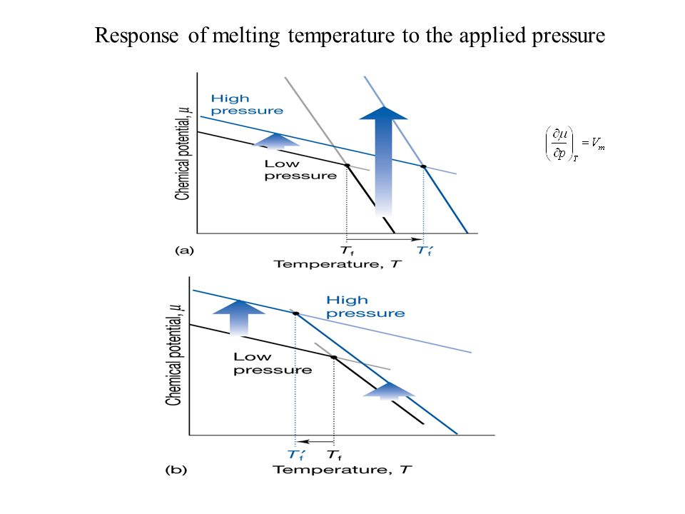 Response of melting temperature to the applied pressure
