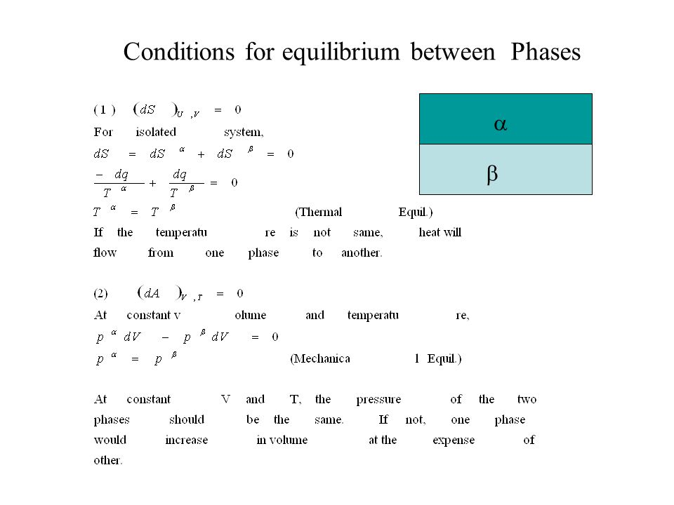 Conditions for equilibrium between Phases