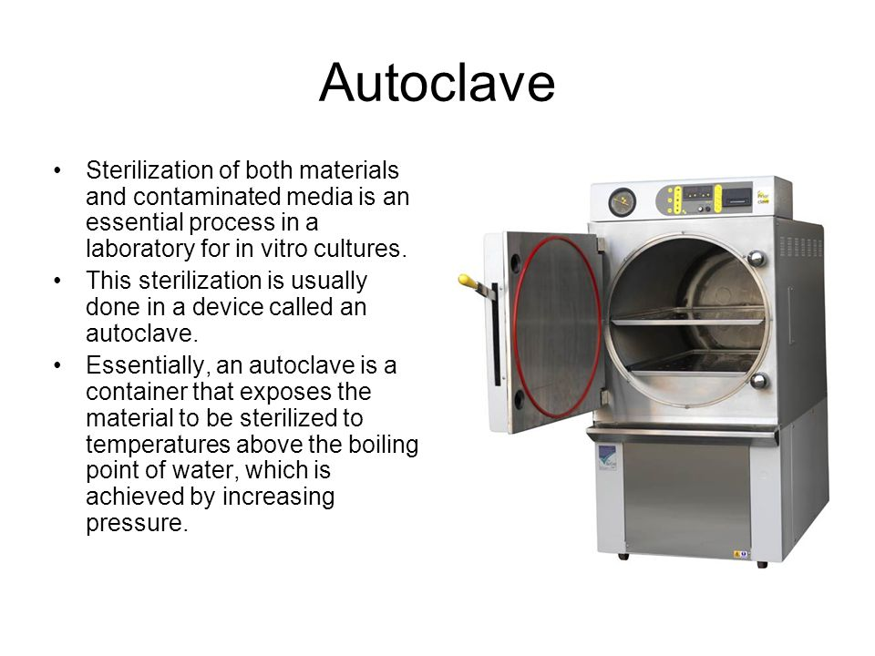 Autoclave Sterilization of both materials and contaminated media is an essential process in a laboratory for in vitro cultures.