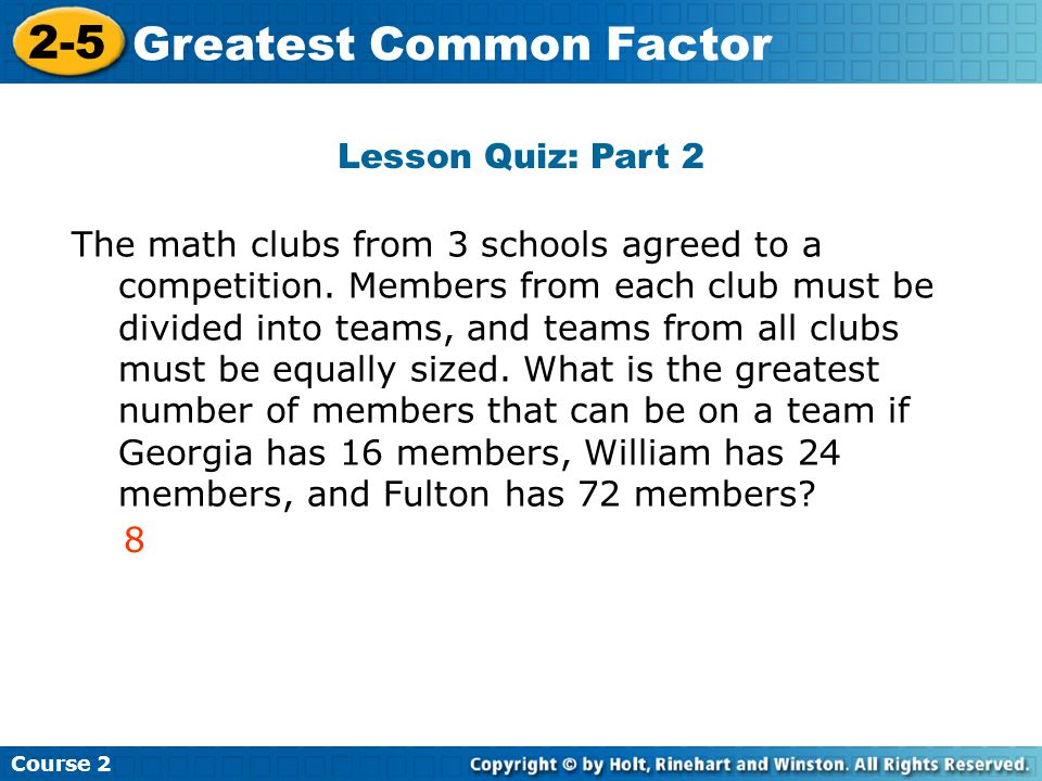 Greatest Common Factor Insert Lesson Title Here