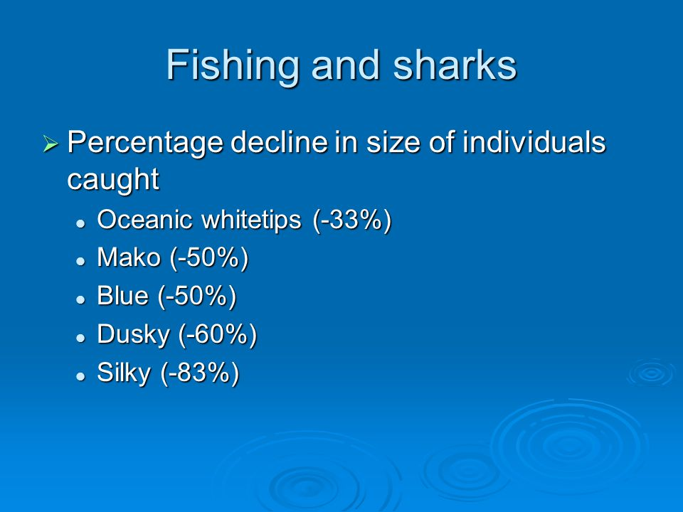 Fishing and sharks Percentage decline in size of individuals caught