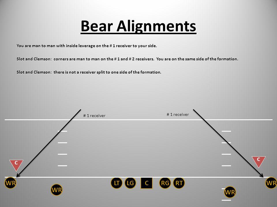 Bear Alignments WR LT LG C RG RT WR WR WR C C