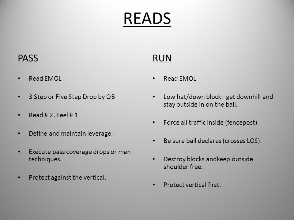 READS PASS RUN Read EMOL 3 Step or Five Step Drop by QB