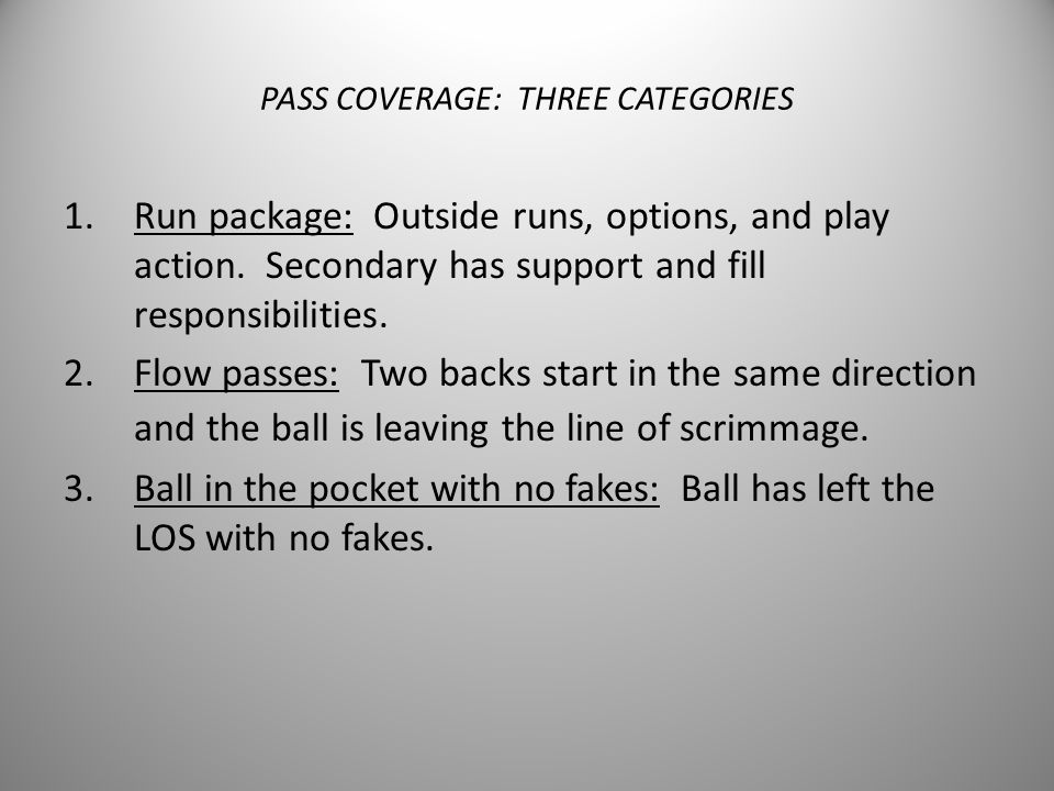 PASS COVERAGE: THREE CATEGORIES