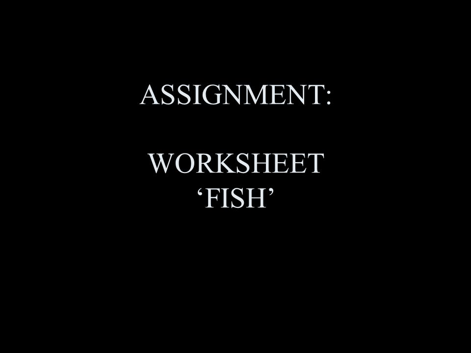 ASSIGNMENT: WORKSHEET 'FISH'