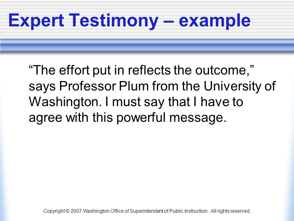 Expert Testimony – example