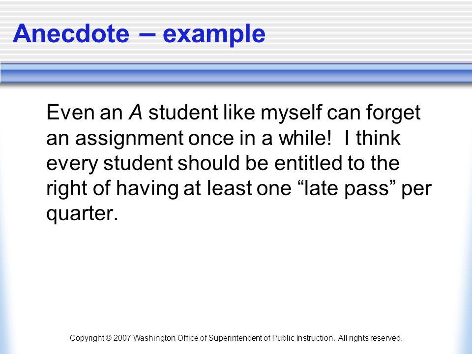 Anecdote – example