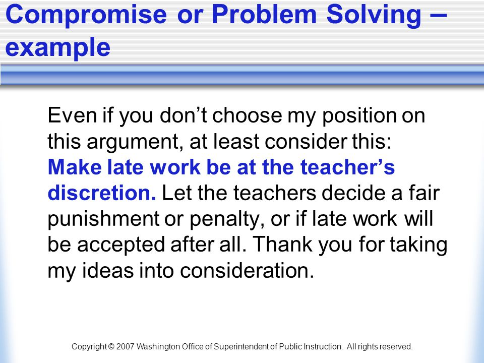 Compromise or Problem Solving – example