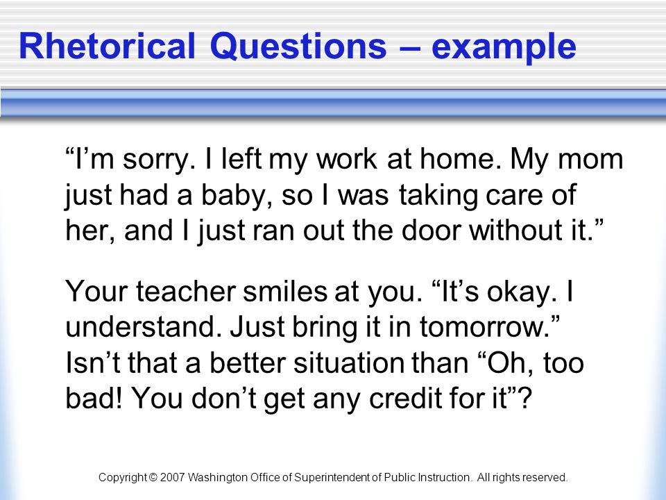 Rhetorical Questions – example