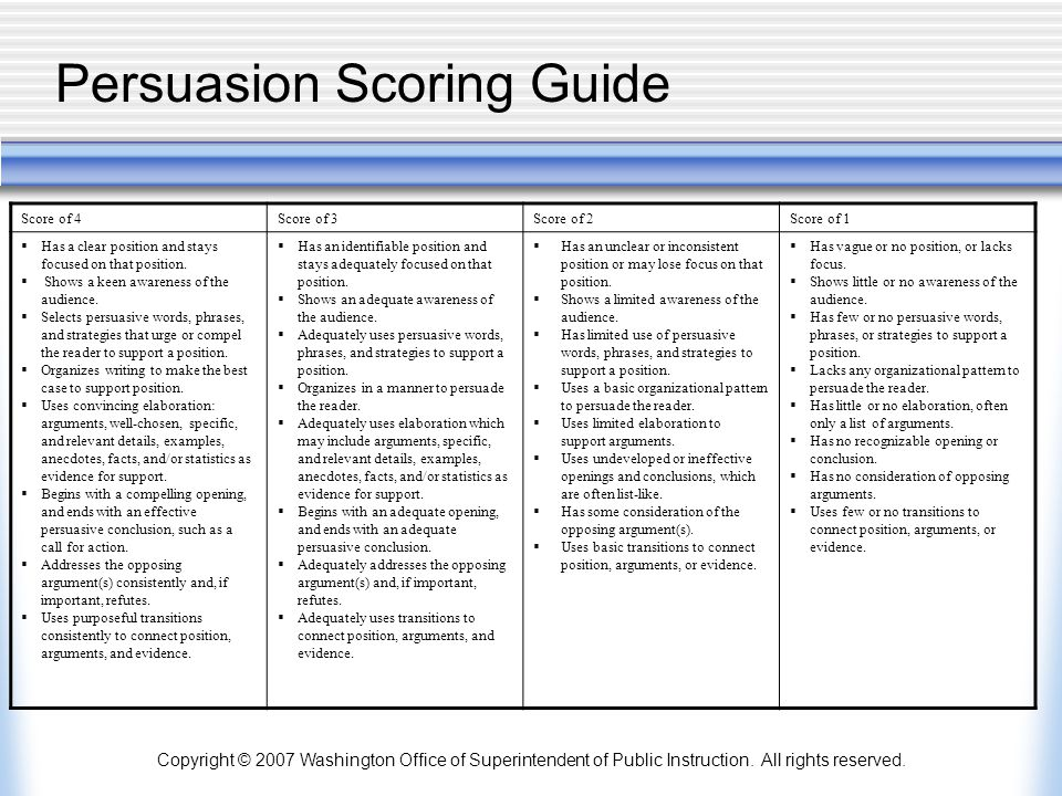 Persuasion Scoring Guide