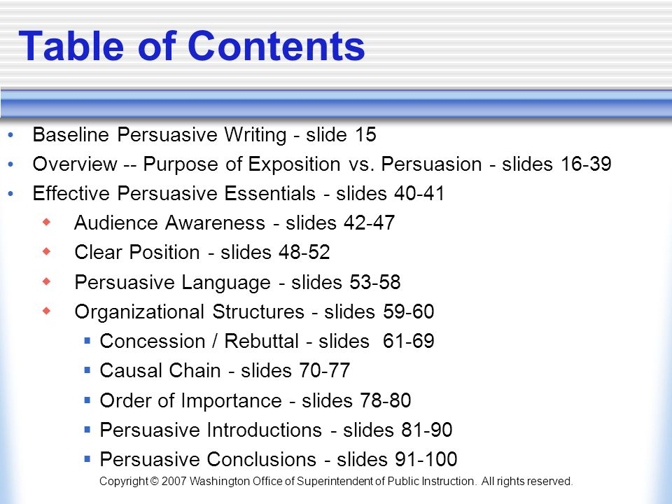 Table of Contents Baseline Persuasive Writing - slide 15