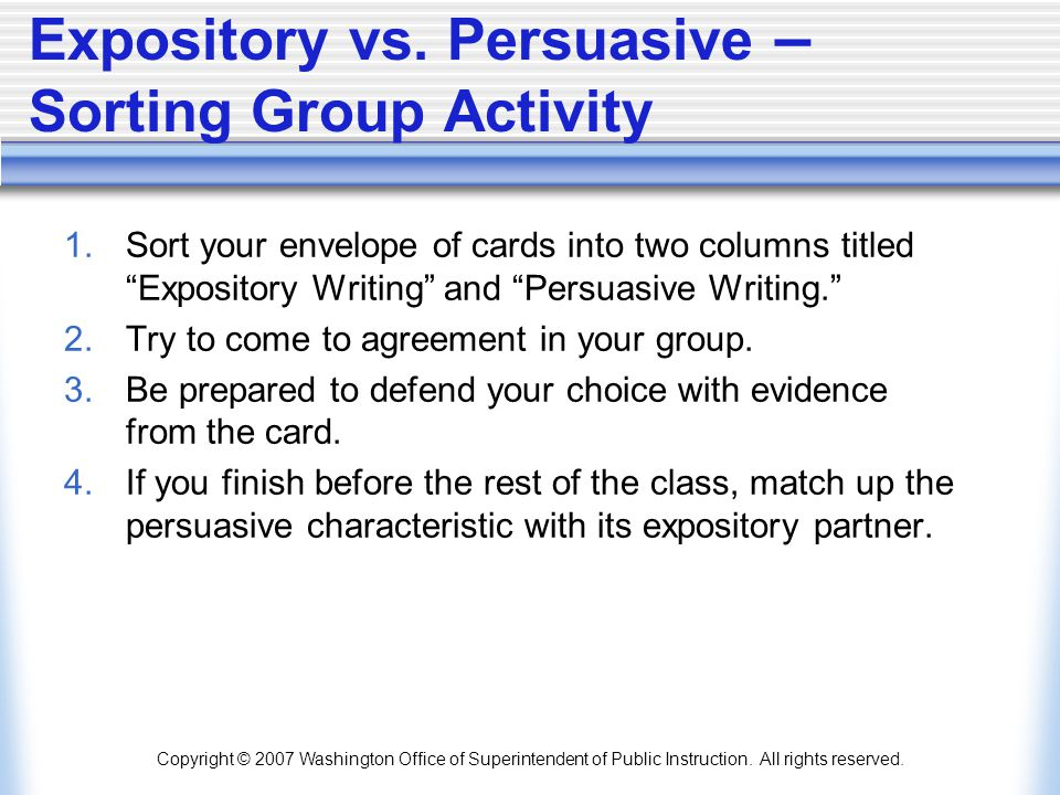 Expository vs. Persuasive – Sorting Group Activity