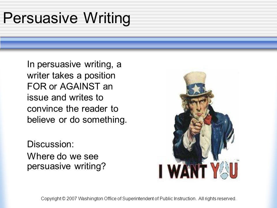 Persuasive Writing Discussion: Where do we see persuasive writing