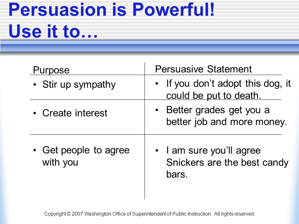 Persuasion is Powerful! Use it to…