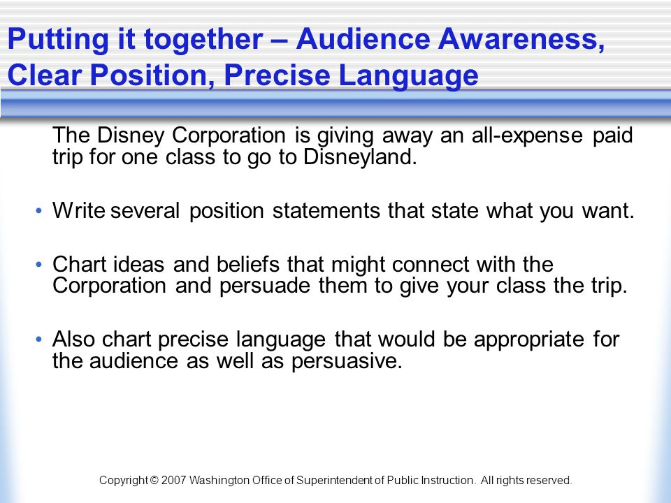 Putting it together – Audience Awareness, Clear Position, Precise Language