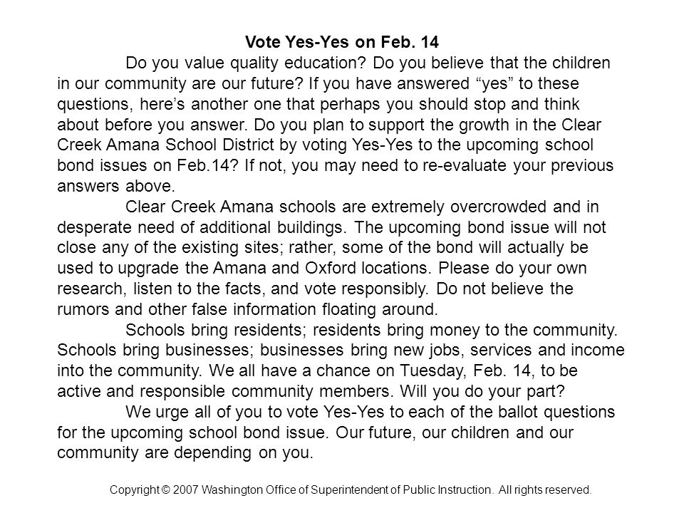 Vote Yes-Yes on Feb. 14