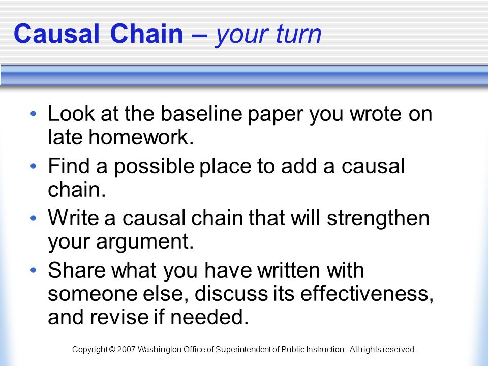 Causal Chain – your turn