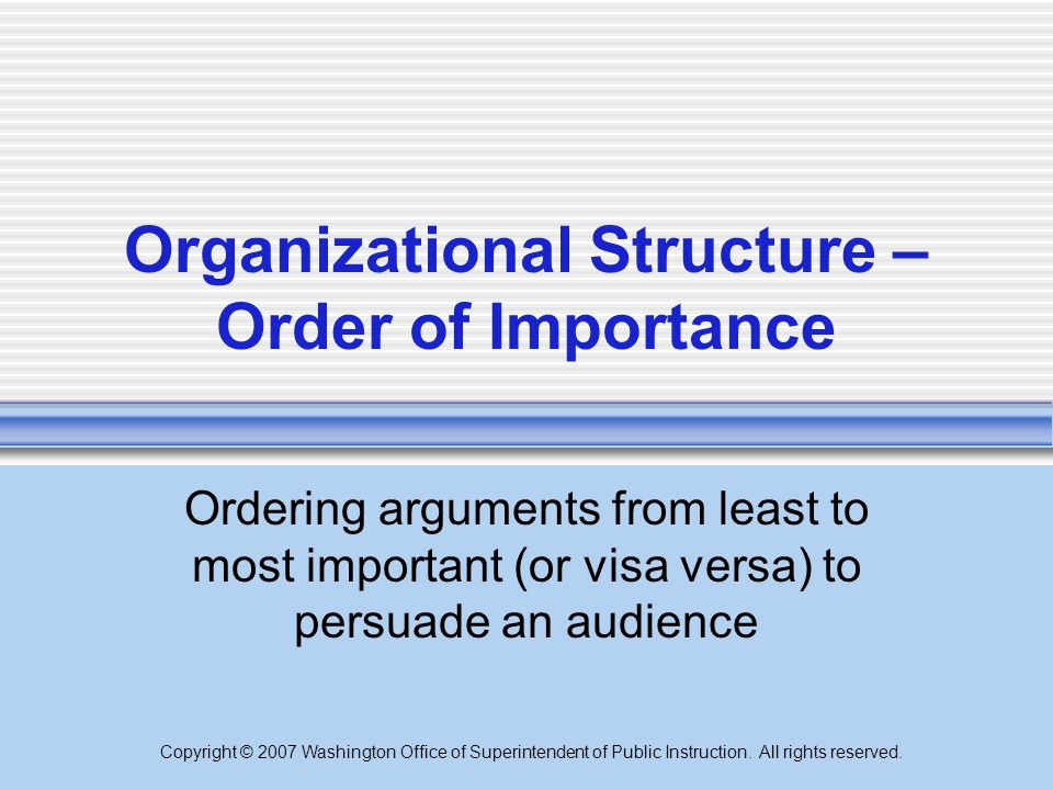 Organizational Structure – Order of Importance
