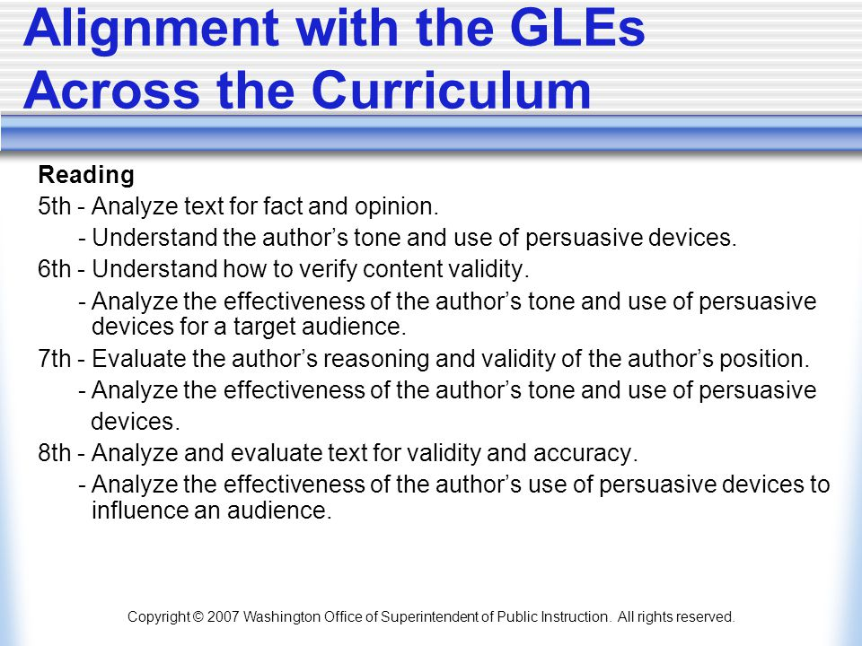 Alignment with the GLEs Across the Curriculum