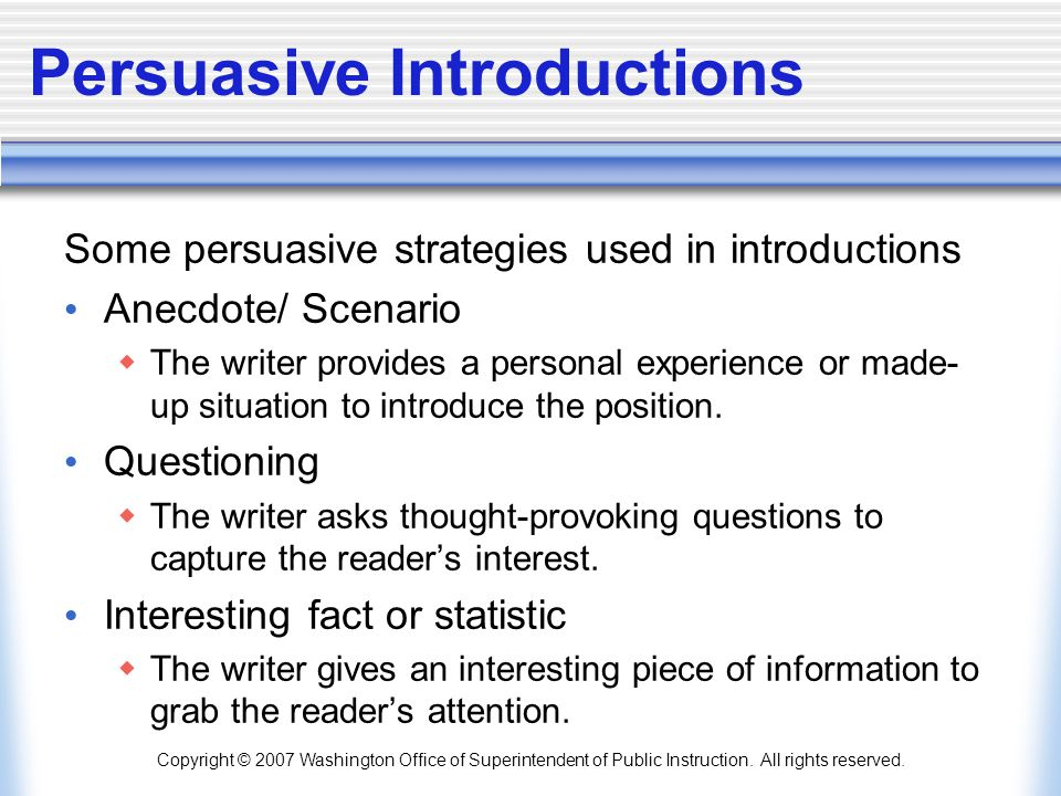 Persuasive Introductions