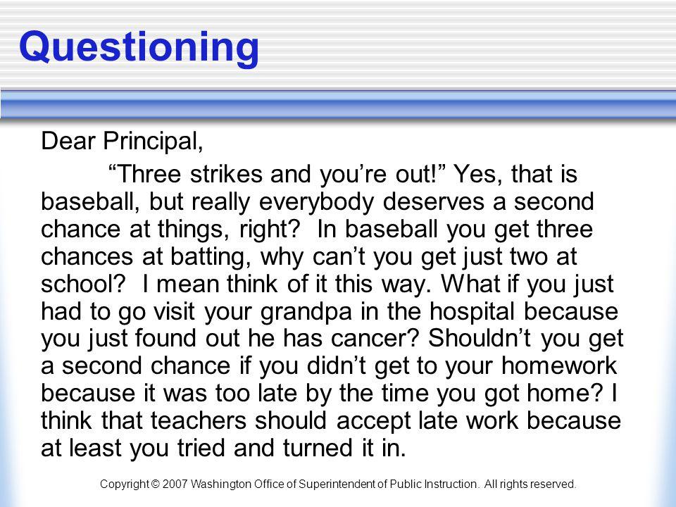 Questioning Dear Principal,