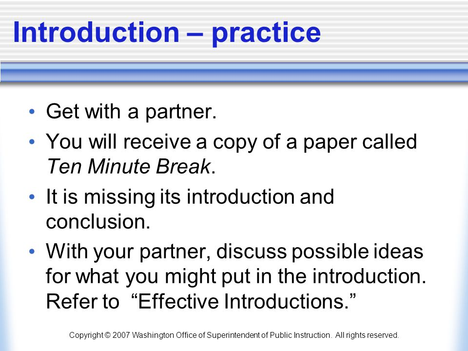 Introduction – practice