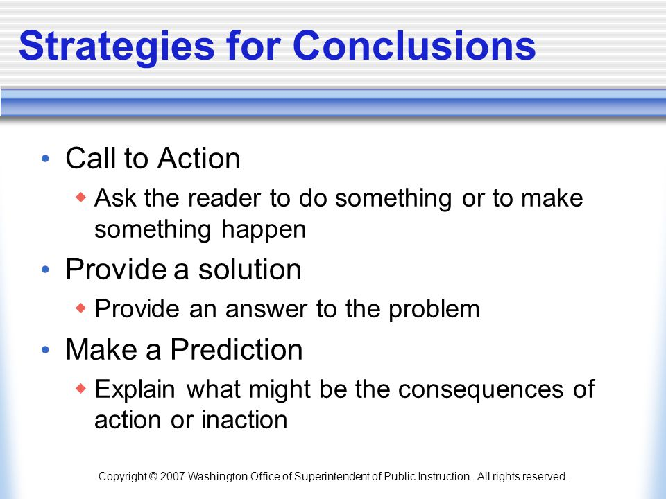 Strategies for Conclusions