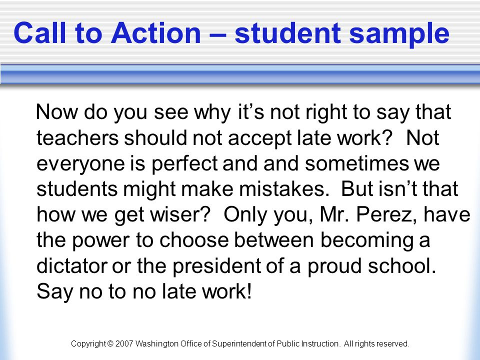 Call to Action – student sample
