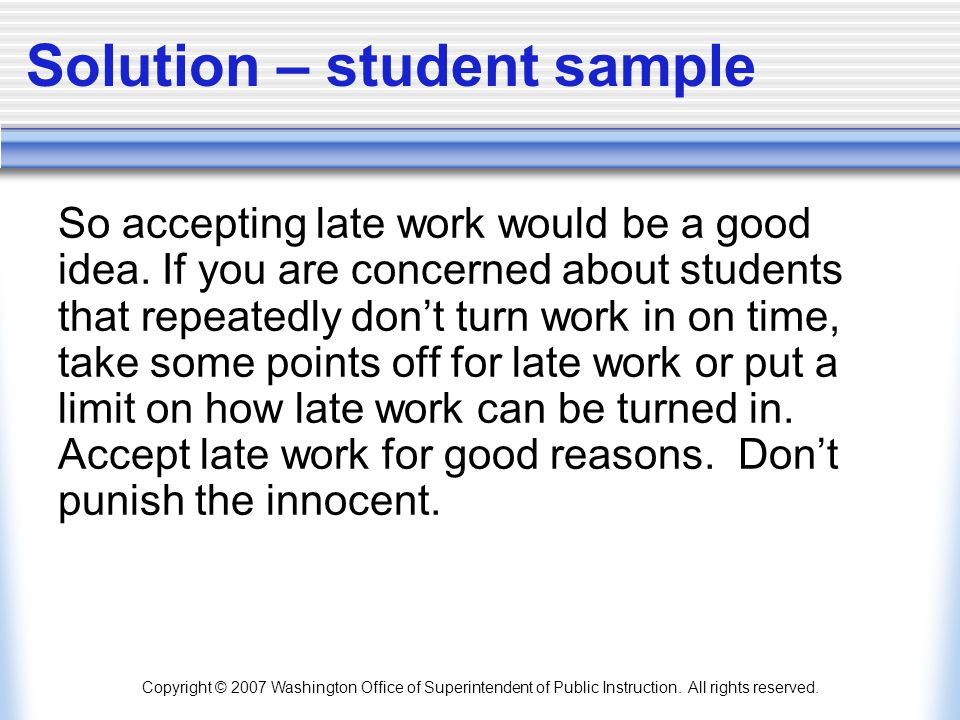 Solution – student sample